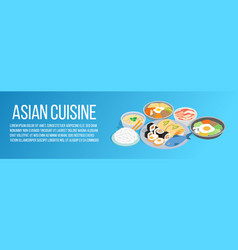 Asian cuisine concept banner isometric style vector