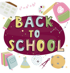 Back to school colorful banner flat vector