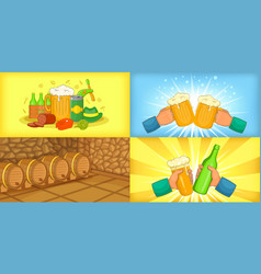 beer banner set horizontal cartoon style vector image