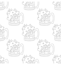 Beer mugs seamless contour vector