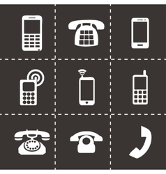 Black telephone icons set vector