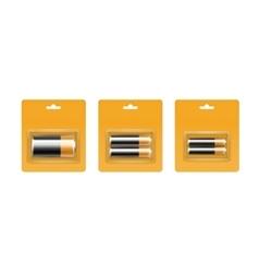 Black Yellow Golden Alkaline Batteries in Blister vector