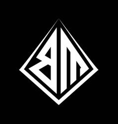 Bm logo letters monogram with prisma shape design vector