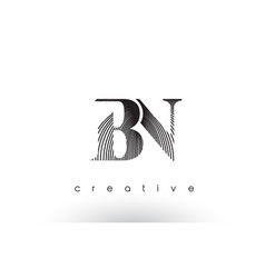 bn logo design with multiple lines and black and vector image