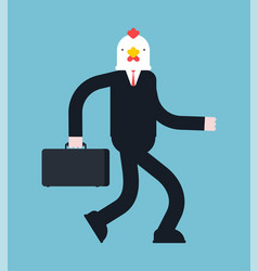 Boss chicken businessman rooster cock manager vector