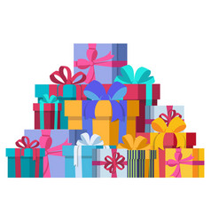 bunch gift boxes vector image