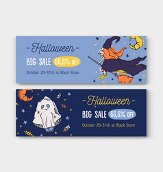 bundle horizontal holiday web banner templates vector image