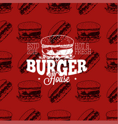 Burger house logo on seamless pattern fast food vector