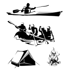 Camping rafting labels logos emblems vector