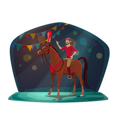 circus show horse and acrobat or equestrian vector image