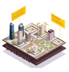 city skyscrapers isometric composition vector image