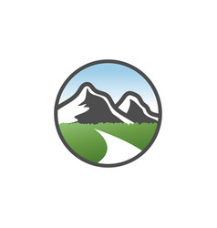 Classic mountain scenery logo design concept vector