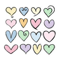 collection cute hand drawn hearts heart icons vector image