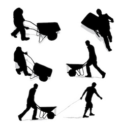 construction workers with wheelbarrow vector image