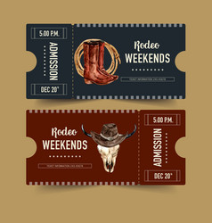 Cowboy ticket design with boots rope cow skull vector
