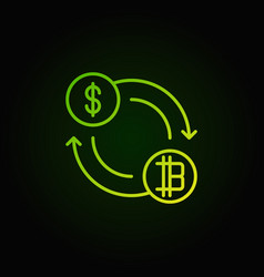 cryptocurrency exchange green concept icon vector image