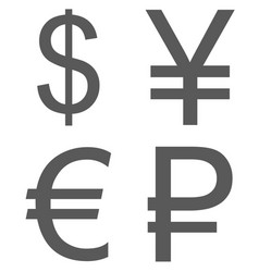 currency signs set icon simple vector image