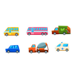 cute city transport set different kind of vector image