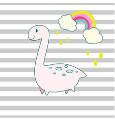 cute dino and rainbow cartoon vector image