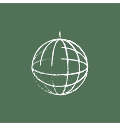 Disco ball icon drawn in chalk vector image