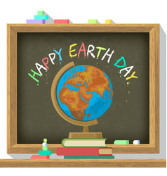 earth day poster school blackboard with color vector image