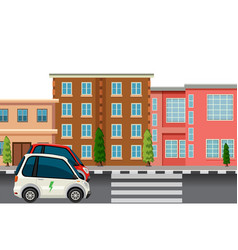 electric car in the town vector image