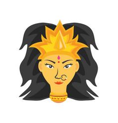 Face goddess durga on white background vector