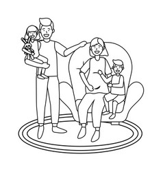 family avatar cartoon character black and white vector image
