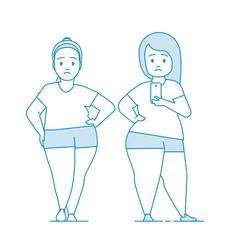 fat girls in sportswear makes selfie vector image