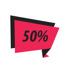 Fifty percent label origami black pink vector