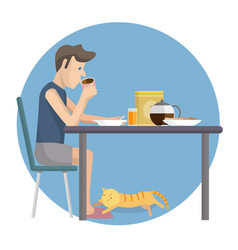 flat design of man eating breakfast at home vector image