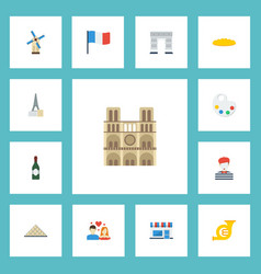 Flat icons pantomime palette french and other vector