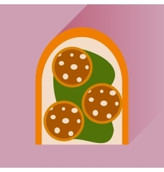flat icons with long shadow sausage sandwich vector image