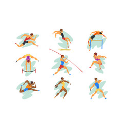 flat set professional athletes in vector image