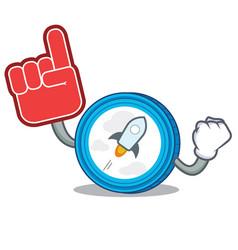 Foam finger stellar coin character cartoon vector