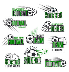 Football championship soccer ball icons vector