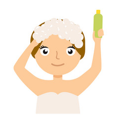 girl washing her hair portrait flat cartoon simple vector image