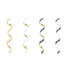 gold silver white black streamers set silver vector image