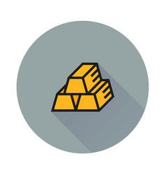 Golden icon on round background vector