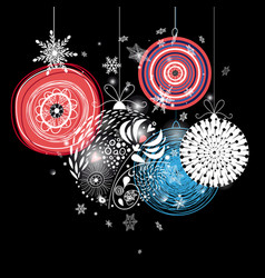 Graphic festive greeting card with christmas balls vector