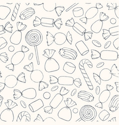 hand drawn candies and marshmallows pattern vector image