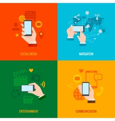 Hand smart phone flat icons composition vector image