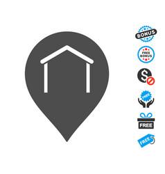 hangar map marker icon with free bonus vector image