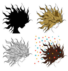 head of a girl with beautiful hair vector image
