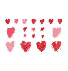 hearts valentines day set sketchy style vector image