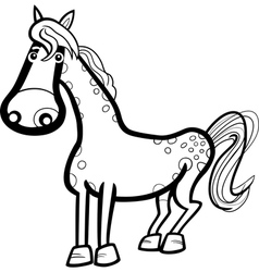 horse farm animal cartoon for coloring vector image