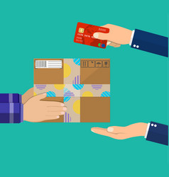 human hand holds money and pay for the package vector image vector image