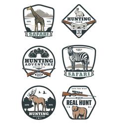 Hunting sport retro badges safari and hunter club vector