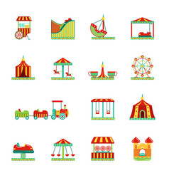 Icon set attractions in amusement park circus vector