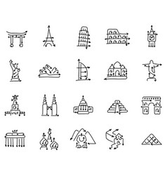 icon set famous world landmarks signs made vector image